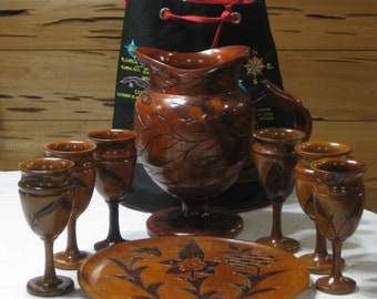 Vintage Wood Hand Carved Pitcher, Tray & 6 Goblets Hand Crafted in Aruba