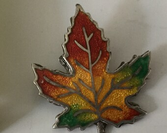 "Sterling Silver & Enamel Tricolour Maple Leaf Pin Brooch / Badge / Canadian Maple Leaf - 1"" Tall"