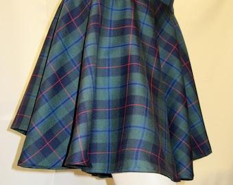 """Armstrong Plaid Full Circle Skirt 14"""" to 15"""" Long Elastic waistband Full Circle skirt W/side pocket~Skater Skirt Plus SIzeCustom@sohoskirts"""