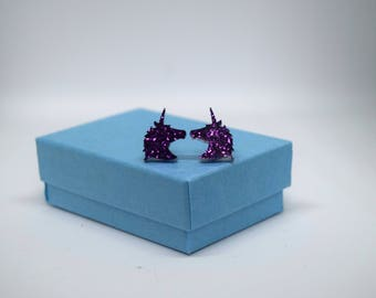 Unicorn Earrings, Purple Glitter, Ear Studs, Horse Gift, Handmade Jewellery, Fairy Tale, Princess, Hypoallergenic, Stainless Steel, Magic