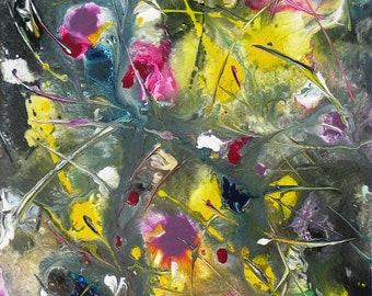 Colorful Abstract Painting Original Art Abstract Flowers Painting Palette Knife Art Contemporary Wall Decor