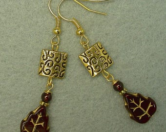 Vintage German Gold Etched Glass Leaves Bead Dangle Drop Earrings, Vintage Garnet Beads, Gold Plated Etched Square Beads - GIFT WRAPPED