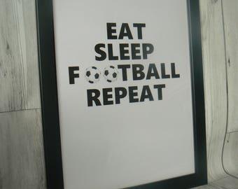 Football gift, football fan, football print, football picture, gift for him, boys room decor, eat sleep football, football birthday,