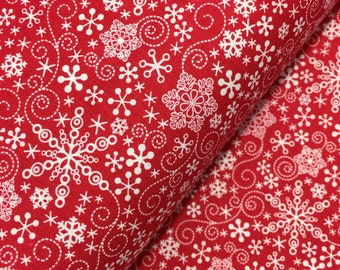 "End of Bolt, Red Mulberry Lane Snowflakes by Cherry Guidry for Contempo Studios, Christmas Fabric, Snowflake, Winter, 13""x44"""