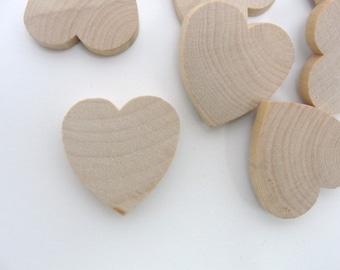 """25 Wooden hearts 1 1/4 inch (1.25"""") wide 1/4 inch thick unfinished wood hearts diy"""