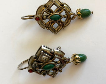 Vintage Gold green filigree drop ear wires