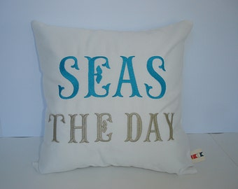 Pillow Cover | Seas The Day Pillow | Sunbrella Indoor Outdoor Pillow | Boat Pillow | Coastal Decor | Pool Pillow | Beach Pillow | Sea Pillow