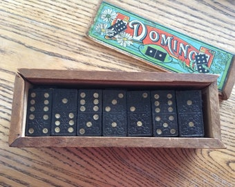 Wooden Domino set with box and 28 dominos