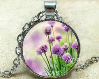 Purple wildflower art pendant, purple wildflower pendant, wildflower necklace, purple blossom necklace, wildflower, Pendant #PL126P