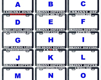 Skinny dip dipping chunky dunk love addict funny assorted license plate frame