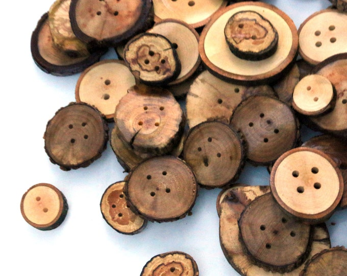 Assorted Natural Buttons, Fascinating Wooden Fasteners, Live Edge Bark Tree Branch Bulk Buttons Woodworking Sewing Felting Sweater Supplies