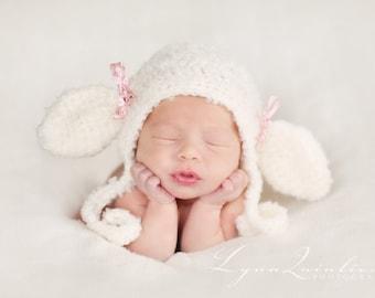 Download PDF crochet pattern 038 - Lil' Lamb bonnet