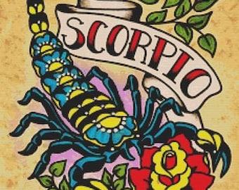 Cross Stitch Kit, Zodiac Cross Stitch, Scorpio Sign, Tattoo Cross Stitch Kit, Illustrated Ink Art, Illustrated Ink, Scorpion Cross Stitch