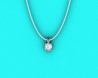 14K white gold 0.50ct solitaire diamond pendant