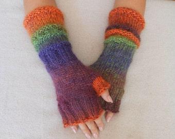 Hand Knitted Fingerless Mittens  Gloves Multi Color Fingerless Long Fingerless  Arm Warmers Winter Gloves