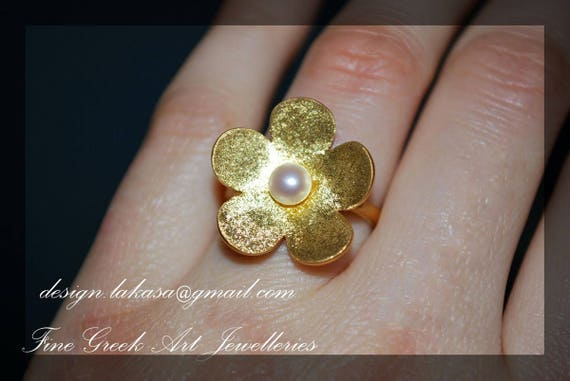 Flower Pearl Ring Sterling Silver Gold plated Handmade Jewelry Woman Moda Fashion Anniversary Best Ideas Gifts Mother Mommy Girlfriend Love