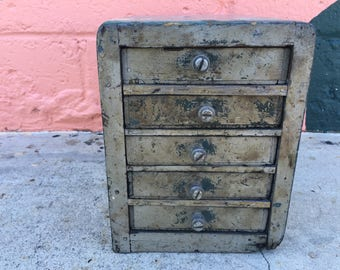 Vintage Wood Drawer Set Cabinet Silver Grey Philadelphia Cream Cheese Wooden Rustic Handmade Hand Made Folk Art Painted Industrial Storage