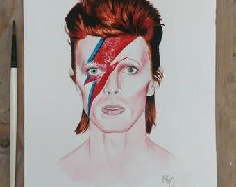 David Bowie - Ziggy Stardust - Aladdin Sane A4 watercolour print