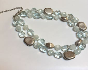 Premier Designs Lucite and Silver Bead Choker.