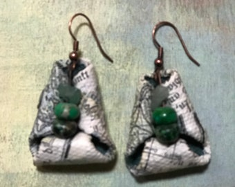 One of a kind paper and bead earrings