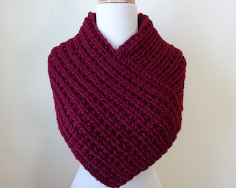 Knit Cowl, Knit Neck Warmer, Textured Rib Stitch Cowl Neck Warmer in Burgundy - Acrylic - Soft Cowl - Warm Cowl - Gift for Her