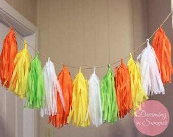 Lemon Limeade Tissue Paper Tassel Garland, Bright Summery Tissue Paper Garland, Bright Colored Tissue Paper Garland