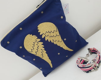 Jewelry, Midnight Blue confetti makeup pouch with Angel Wings gold