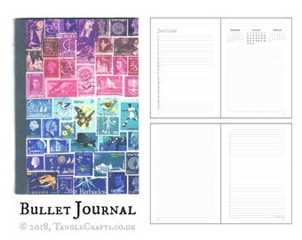 Purple Blue Bullet Journal, Any year Diary Planner - calendar, free Journal & dot grid pages | Stationery Gift - Postage Stamp Collage Print