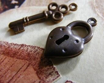 Tiny Heart and Key Charms