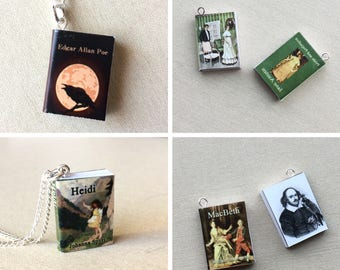 Mini Book Necklace, Book Jewelry, Librarian Gift, Reader Gift, Book Lover Gift, Miniature Book Necklace, Jane Austen, Heidi, Wizard of Oz