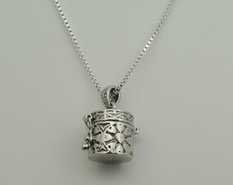 """Vintage Secret Compartment """"Hat Box"""" Sterling Silver Pendant with Heavy Sterling Silver 20 Inch Box Chain  #HATBOX-SPC3"""