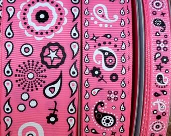 """2 Yards 3/8"""", 7/8"""" or 1.5"""" Hot Pink Bandana Print Grosgrain Ribbon - US Designer"""