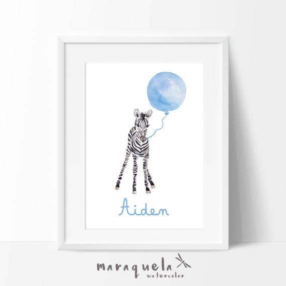Little ZEBRA and BLUE balloon Watercolor, nursery decor custom name. Personalized Baby print. Children wall decor, shower boys, kids room