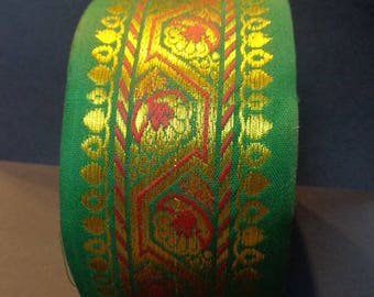 Meter Ribbon green cotton golden embroideries 66 mm India
