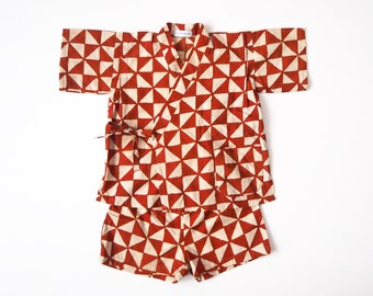 Baby Jinbey, Jinbei, Kimono for babies, SANKAKU CARMIN Enfant, hand block printed fabric from India, made in France