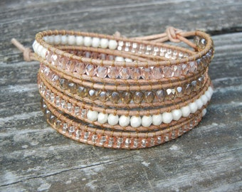 Beaded Leather Wrap Bracelet 4 Wrap with Peach Pink Champagne Czech Glass Beads on Natural Tan Leather