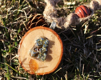 Handmade Wooden Pendant with Bismuth and Golden Beryl on Macrame Hemp Necklace with Wooden Beads