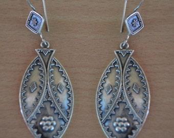 925 Solid Sterling Fine Silver Plain Silver Earring,Oxidized Plain Silver Earring Gift for Girl,Unique Earring Everyday,large Silver Earring