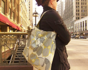 Reversible Tote Bag, Optic Linen and Mustard Martini