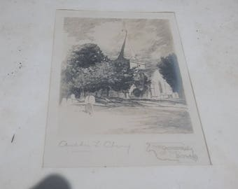Vintage Engraving 'Cathedral of the Downs in Oak Frame
