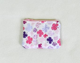 Tiny zipper pouch - Mini pouch - Pink clovers - Travel pouch - Accessories case - Coin purse - Credit card case - Pink and white mini pouch