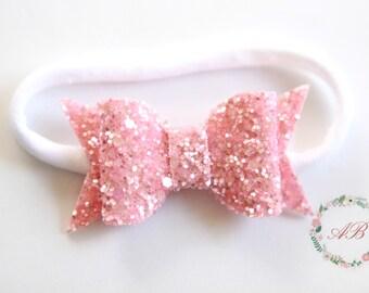 Pink Bow Headband - Baby Pink Bow Headband - Glitter Bow Headband - Pink Glitter Bow Headband - Pink Glitter Headband