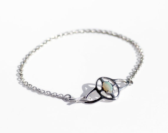 Silver and Opal Ripple Bracelet