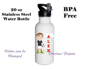 Personalized Stainless Steel water bottle - soccer water bottles - soccer metal water bottle soccer stainless steel water bottle