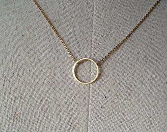 Gold Circle Necklace, 14k Gold plated, Dainty Necklace, Tiny Round Necklace