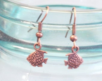Tiny Antiqued Copper Fish Earrings