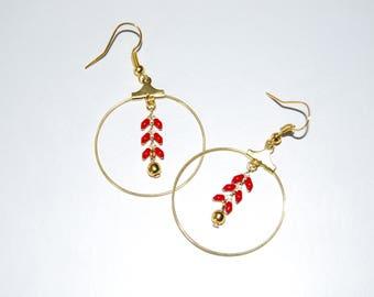 Earrings hoops ears red and gold chain, jewelry handmade Christmas gift, brass earrings boho earrings, gift for her