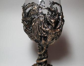 demon decorated large wine glass