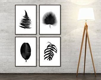 Set of 4 Black and White Botanical Instant Downloads, Botanical Prints, Leaves, Botanical, Print Set, Printable, Wall Art, Art Print, Poster