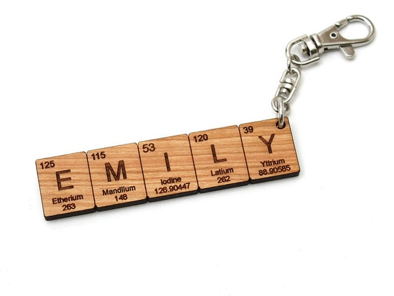 Custom name periodic table chemistry keychain cool science or custom name periodic table chemistry keychain cool science or chemistry gift made in the usa with sustainably harvested woods urtaz Image collections